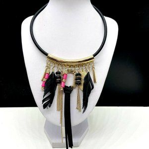 NY&Co Bib Statement Feather Necklace New York Co
